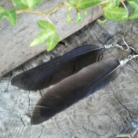 Crow Feather  Earrings, Long Feather Earrings, Handmade Earrings, Feather, Feathers, Feather Earrings