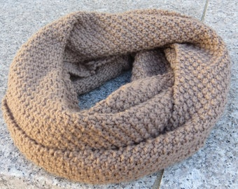 Ready to Ship || Taupe Colored Moss Stitched Infinity Scarf