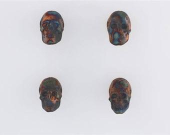 Multicolored Matte Raku Ceramic Skull Beads