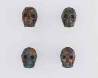 Multicolored Matte Raku Ceramic Skull Design Beads