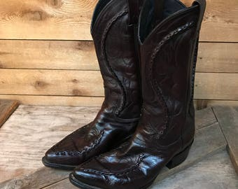 Men's Vintage Dan Post Oxblood Western Boots Size 8 EW (Extra Wide)