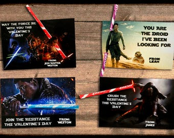 Fully Assembled STAR WARS: The Force Awakens Valentine's Day School Classroom Trading Cards For Kids Pixy Stixs Candy Kylo Ren Finn Rey BB-8