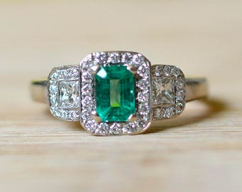 Emerald Engagement Ring - Emerald and Diamond Ring - Size 7 Engagement Ring - Art Deco Engagement Ring - Vintage Emerald Ring