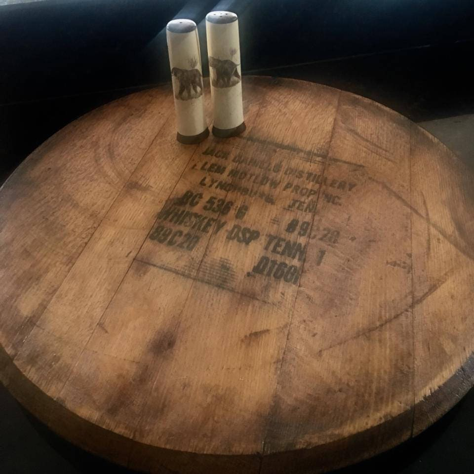 Authentic jack daniels whiskey barrel head lazy susan zoom geotapseo Images