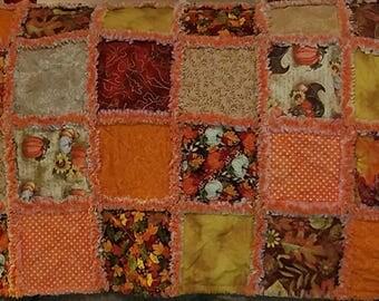 Fall rag quilt throw