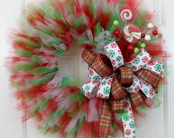 Clearance!! Tulle Christmas Wreath, Tulle Holiday Wreath, Christmas Wreath, Holiday Wreath, Front Door Christmas Wreath, Front Door Wreath