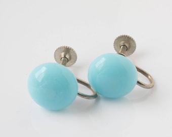 Blue Circle Button Screw Back Earrings - Blue Silver Screw Earrings