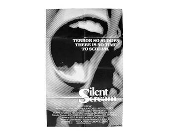 Vintage The Silent Scream Movie Poster 80s Horror Thriller Barbara Steele