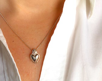 Necklace with sacred heart entirely in 925 silver