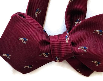 Silk Bow Tie for Men -Tennis - One-of-a-Kind- Handcrafted - Self-tie - Free Shipping