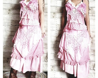 Pink Sunshine Shabby cutwork romantic country girl asymmetric floral layered peasant rustic country ruffled Boho altered mori maxi Dress