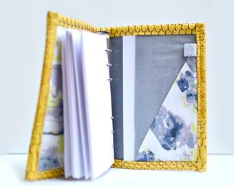 Planner A6, personal planner, agenda modulable, bullet Journal, organiseur A6, classeur A6 simili cuir moutarde, planificateur fait main