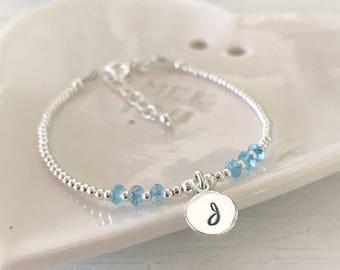 Thin Initial Bracelet, Birthstone Bracelet, Initial Birthstone Bracelet, Sterling Silver, Dainty Bracelet