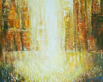 "Judaica  ""Exodus Open Gates ""  Mixed media Embellished painted On Canvas   Yossi.Bitton"