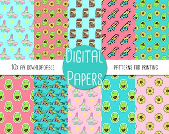 Cute Vegan, Cruelty Free, Avocado A4 Digital Paper - Instant Download for Printing and Scrapbooking