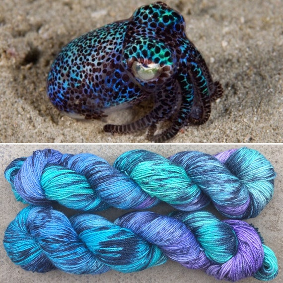 Sparkling Firefly Squid, speckled cephalopod theme indie dyed merino nylon sock yarn