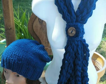 Hat Scarf Set SALE, Chunky Scarf, Button Scarf, Infinity Scarf Set, Slouchy, Peacock, Scarf Cowl, Dark Blue Scarf, Infinity, peacock blue
