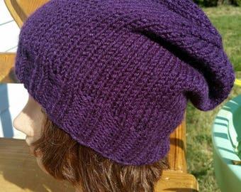 Knit slouchy Hat, Knit Beanie, snowboarding hat, Slouch Hat, purple Slouch Beanie, Slouchy, Slouchy hat, Dark Purple Slouchy, Knit Slouchy