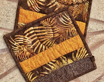 "Fall color hot pads in earth tones - set of 2! Oversized at 9"" x 9"""