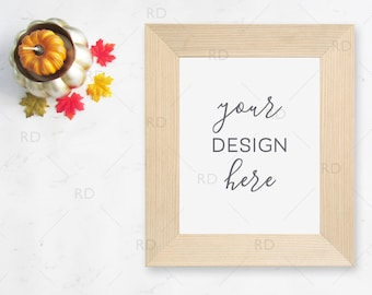 "Pumpkin and Leaves Fall Themed Frame Mockup on Marble Desk / Styled Stock Photography / 8""x10"" Frame PSD smart object and PNG / Styled Frame"