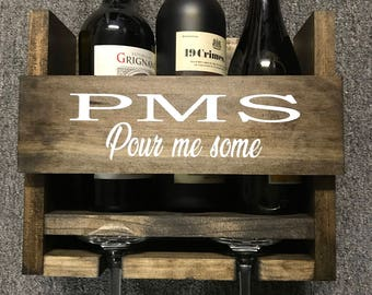 Wooden Wine Rack PMS Pour me some
