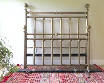 Vintage Queen Brass Bed - Headboard Footboard & Rails - Cottage Chic