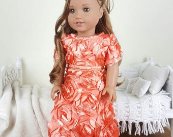 18 inch doll floral skirt & crop top | peach/coral 3D floral high low skirt and shirt