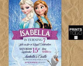 Frozen Birthday Invitation Printable, Frozen Invitation, Frozen Birthday Party Invites, Winter Invitation, Snowflake Invitation, Elsa Invite