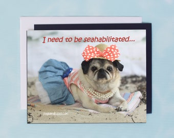 Pug Magnet - I Need To Be Seahabilitated - 5 x 4 Pug magnet - by Pugs and Kisses