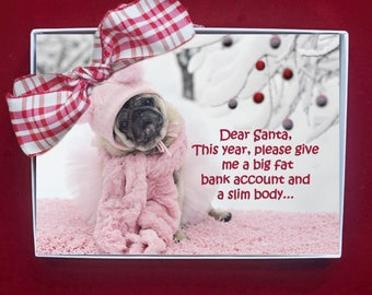 NEW BOXED CHRISTMAS Cards - Dear Santa This Year - pug christmas cards - 5x7