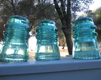 "Insulators - Five Count - Marked,  ""Hemingray"" - Collectible - Use on Fence Posts, In Trees, Home or Office Decor - Garden Art. Unique Gift"