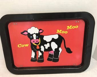 Vintage Cow Bed Tray or Lap Tray with Folding Legs