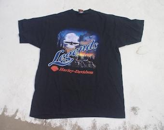"Harley Davidson 90s ""Legends Roam"" Motorcycle T-shirt 1990s Richmond VA"