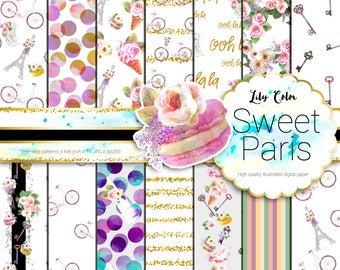 Sweet Paris paper Paris themed graphics For planners scrapbooking,  invitations and more 14 sheets  300 ppi