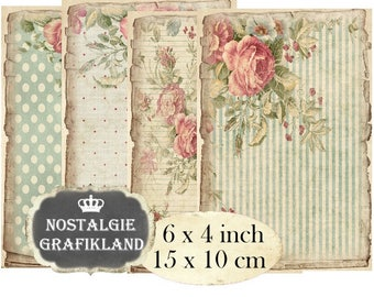 Shabby Chic Background Vintage Papers printable Scrapbook 6 x 4 inch Instant Download digital collage sheet D106