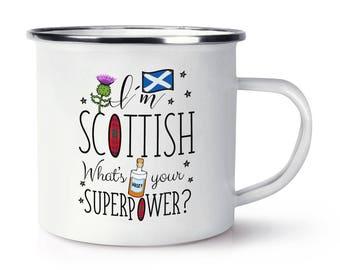 I'm Scottish What's Your Superpower Retro Enamel Mug Cup