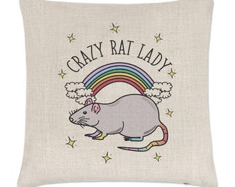 Rainbow Crazy Rat Lady Linen Cushion Cover