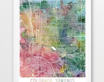 Colorado Springs Urban Map Poster, Colorado Springs Street Print, Colorado Springs Watercolor, Modern Wall Art, Home Decor, Printable Art