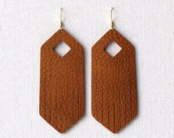 Camel Leather Fringe Drop Earrings