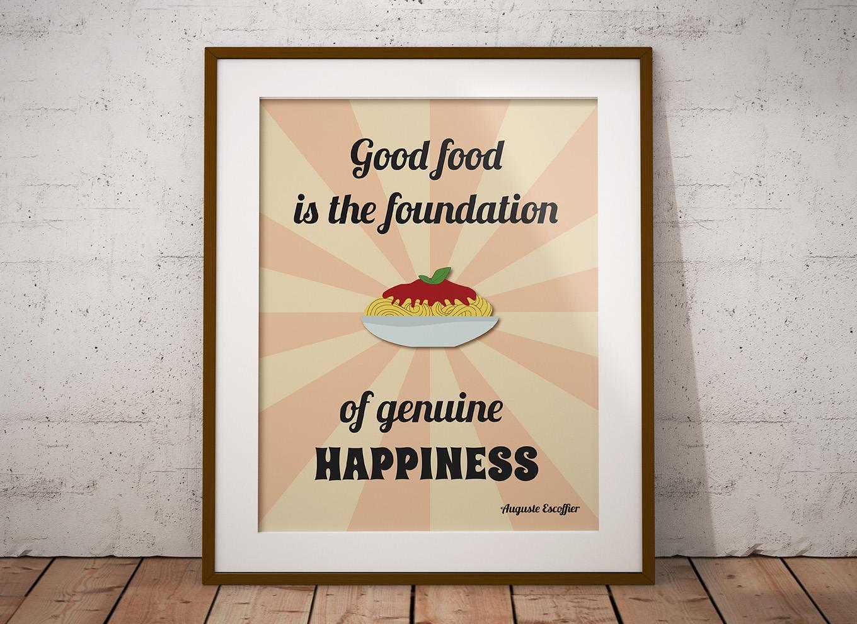 Poster cucina stampabile con citazione sul cibo download for Poster decorativi per pareti