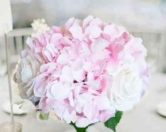 Blush Hydrangeas w Ivory Roses Wedding Centerpiece