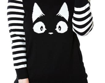 Kiki Kitty Sweater 3/4  Sleeves Two Styles