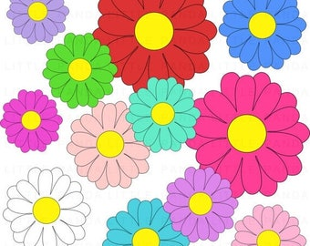 70% OFF SALE Gerbera Daisy Digital Clip Art - Personal and Commercial Use - Instant Download - C129
