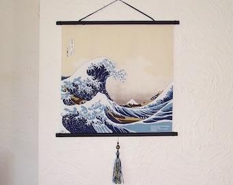 Japanese Furoshiki Oriental Hokusai's 'The Great Wave off Kanagawa' Wall Hanging
