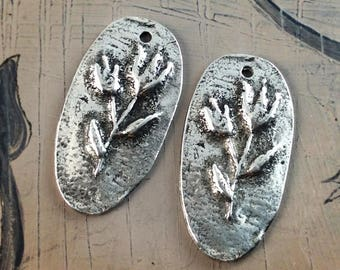 Handcast Flower Charms Pewter, Handmade, Artisan, Jewelry Elements No. 600CP