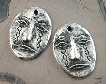 Handcast Face Charms Pewter, Handmade, Artisan, Jewelry Elements No. 605CP