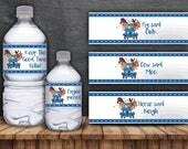 Li'l Blue Truck Water Bottle Labels - Digital Files- Instant Download