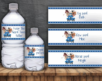 Li'l Blue Truck Water Bottle Labels - Digital Files- Instant Download