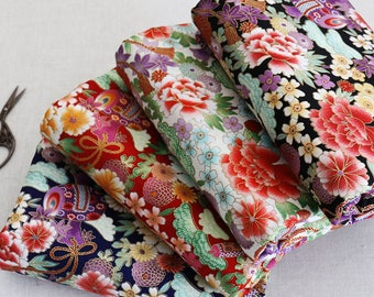 110cm / 43 inch Width, Colorful Chinese Flower-- Mudan Floral Pattern Cotton Fabric, Half Yard