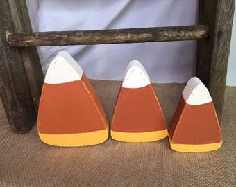 handmade 3 wooden halloween candy corn decortions